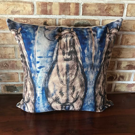 Blue Horse Linen Pillow Cover
