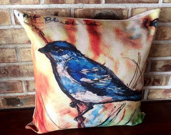 Rustic Modern Bluebird Linen Pillow Cover