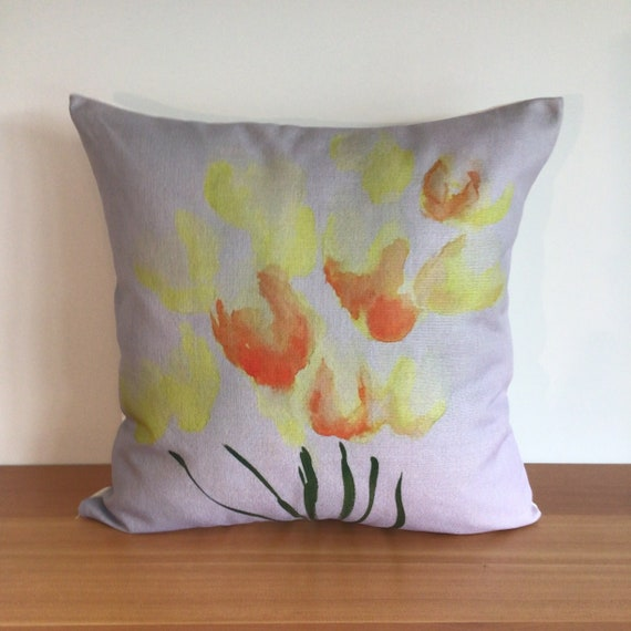 Modern stylized Floral Yellow and Orange Tulip Pillow Cover - Indoor/Outdoor Pillow - Patio Pillow - Linen Pillow Cover