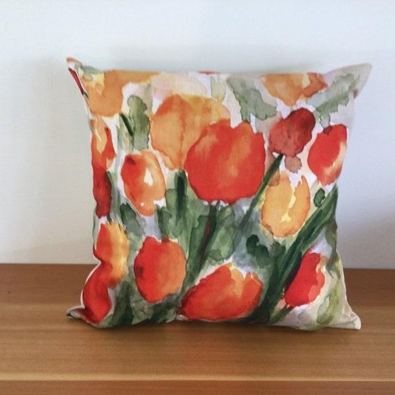 Modern Floral Orange Tulip Pillow Cover - Spring Pillow - Indoor/Outdoor Pillow - Patio Pillow - Linen Pillow Cover