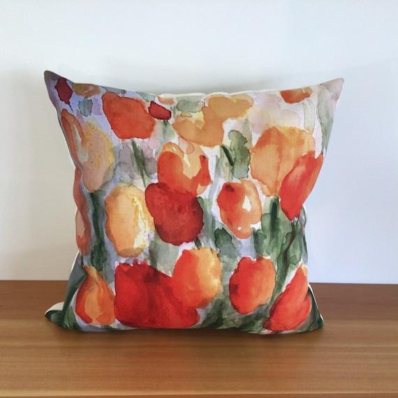 "Modern Floral Tulip Pillow Cover - Spring Pillow - Indoor/Outdoor Pillow - Patio Pillow - 20"" by 20"" Linen Pillow  over"