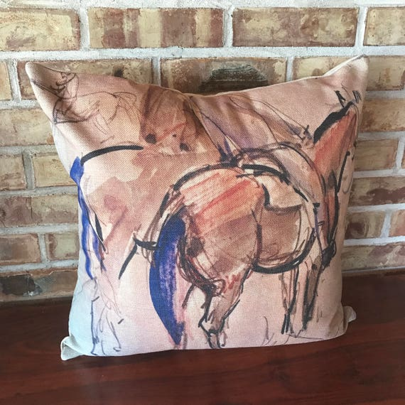 Purple Tailed Horses Linen Decorative Pillow Cover