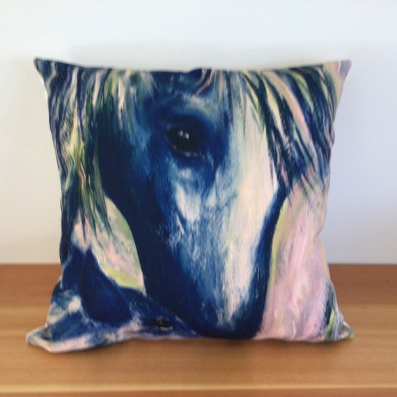 """Abstract Blue Horse  and Foal Pillow Cover 20"""" by 20"""" - Western Decor - Equestrian Horse Pillow Cover - 20"""" by 20"""" Linen Pillow Cover"""