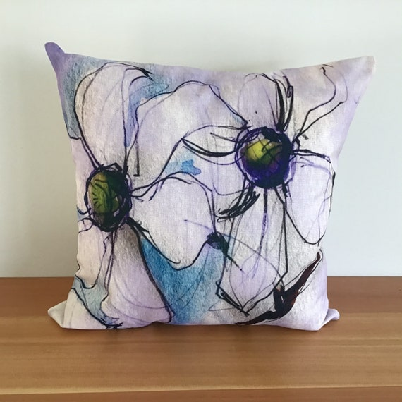 """Floral Pillow Cover - Decorative Flower Pillow Cover - Indoor/Outdoor Pillow 20 """" by 20"""" - Dogwood Patio Pillow - Linen Pillow Cover"""