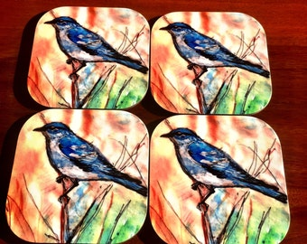 Gorgeous set of 4 Bluebird Coasters