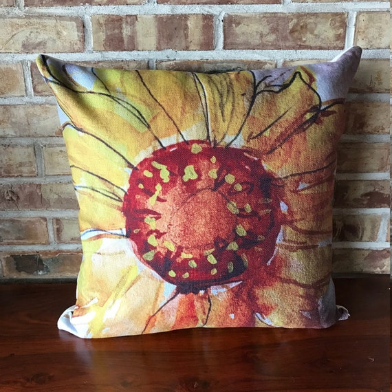 "Vibrant Sunflower Centre Pillow Cover 20"" by 20"""