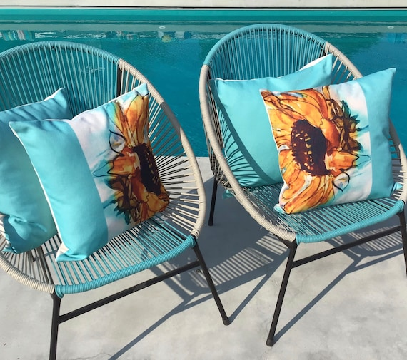 "Floral Pillow Cover - Artistic Sunflower Pillow Cover - Indoor/Outdoor Pillow Cover 20"" by 20""  Patio Pillow Cover Linen Pillow Cover"