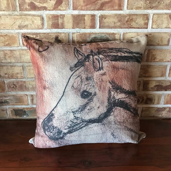 Young Foal Linen Decorative Pillow Cover