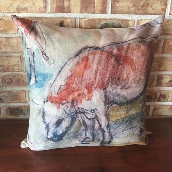 Calf Grazing  Decorative Pillow Cover