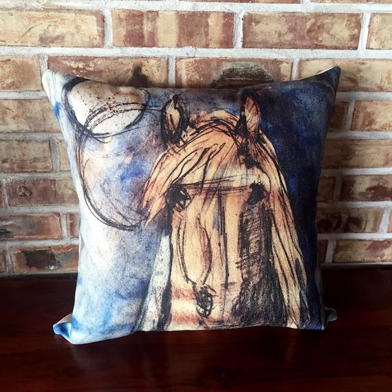 Rustic Modern Blue Horse Linen Pillow Cover