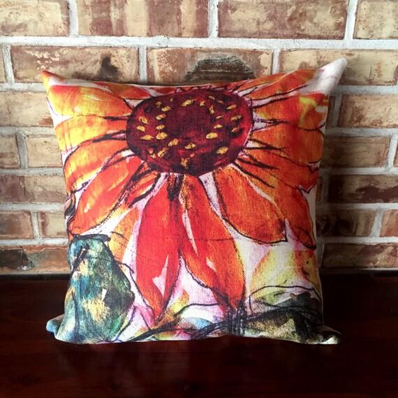 Rustic Modern Sunflower Linen Decorative Pillow Cover