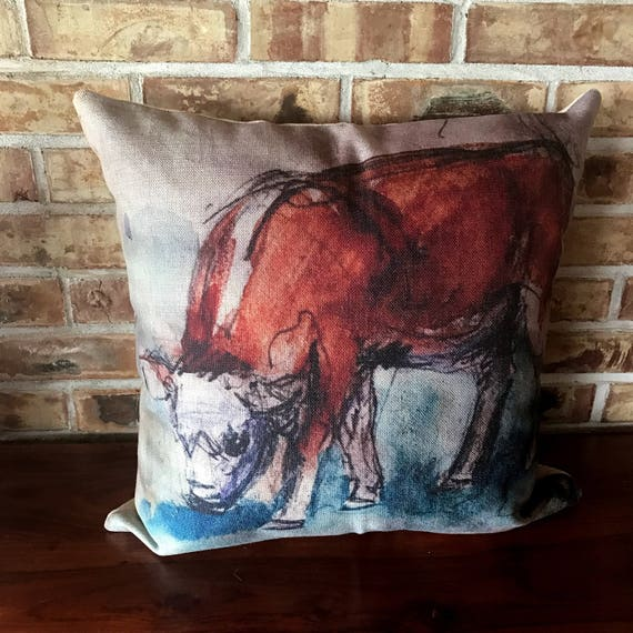 """Rustic Hereford Calf Linen 20"""" Decorative Pillow Cover"""