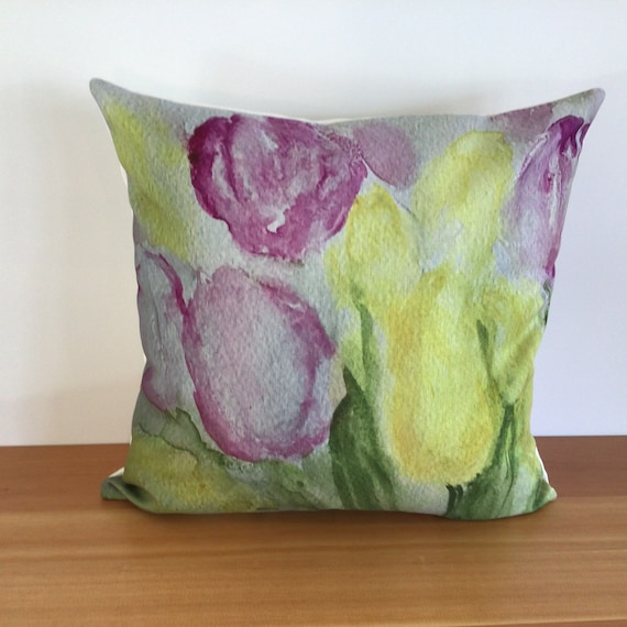 """Modern Floral Tulip Pillow Cover - Spring Pillow Cover - Indoor/Outdoor Pillow - Patio Pillow - 20"""" by 20"""" Linen Pilow Cover"""