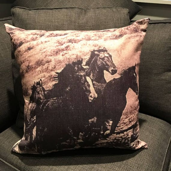 Vintage Inspired Wild Horses  Linen Pillow Cover