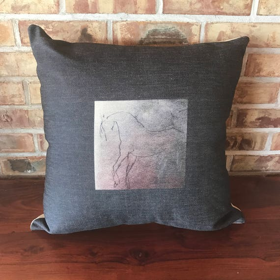 Stylized Horse Linen Pillow Cover