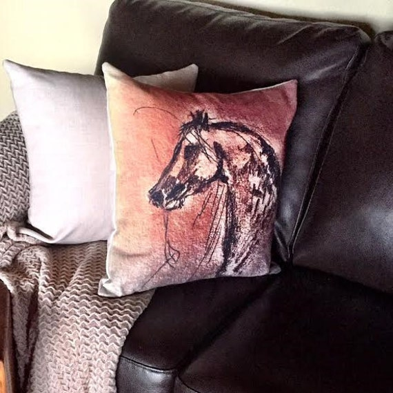 Rustic Modern Horse Linen Decorative Pillow Cover