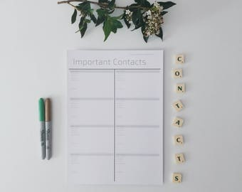 Important Contacts - A4 | Minimalist Black & White | Instant PDF Download
