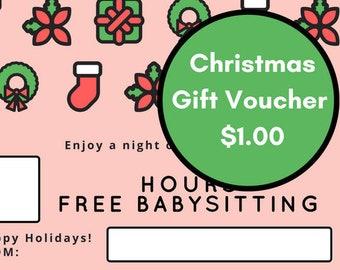 Christmas Babysitting Gift Voucher - Happy Holidays!