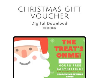 Christmas Babysitting Gift Voucher - The Treat's On Me!