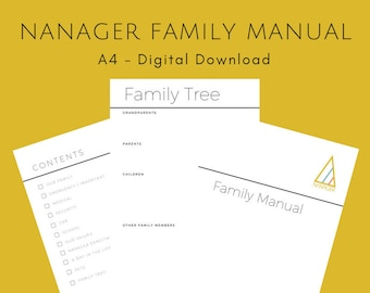 NANAGER Family Manual - Minimalist - A4 - Instant PDF Download