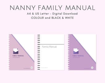 NANNY Family Manual - Color - US Letter - Instant PDF Download