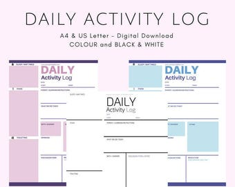 Daily Activity Log - Colour - A4 - Instant PDF Download