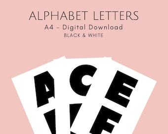Black & White Alphabet Letters - A4 - Instant PDF Download