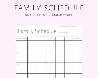 Family Schedule - A4 | Minimalist Black & White | Instant PDF Download