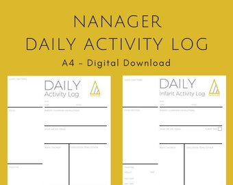 NANAGER Daily Activity Log - Minimalist - A4 - Instant PDF Download