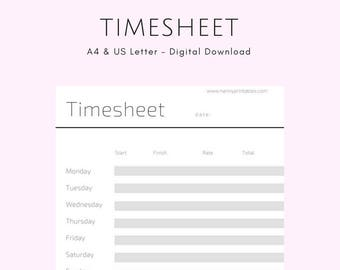 Timesheet - A4 | Minimalist Black & White | Instant PDF Download