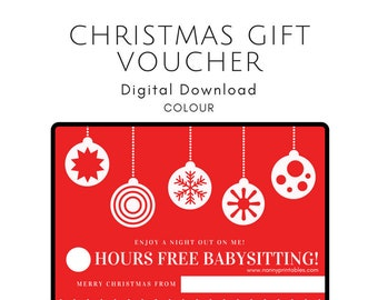 Christmas Babysit Gift Certificate Coupon