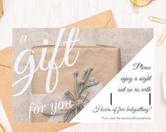 "6"" X 4"" Special Occasion Babysitting Gift Voucher"