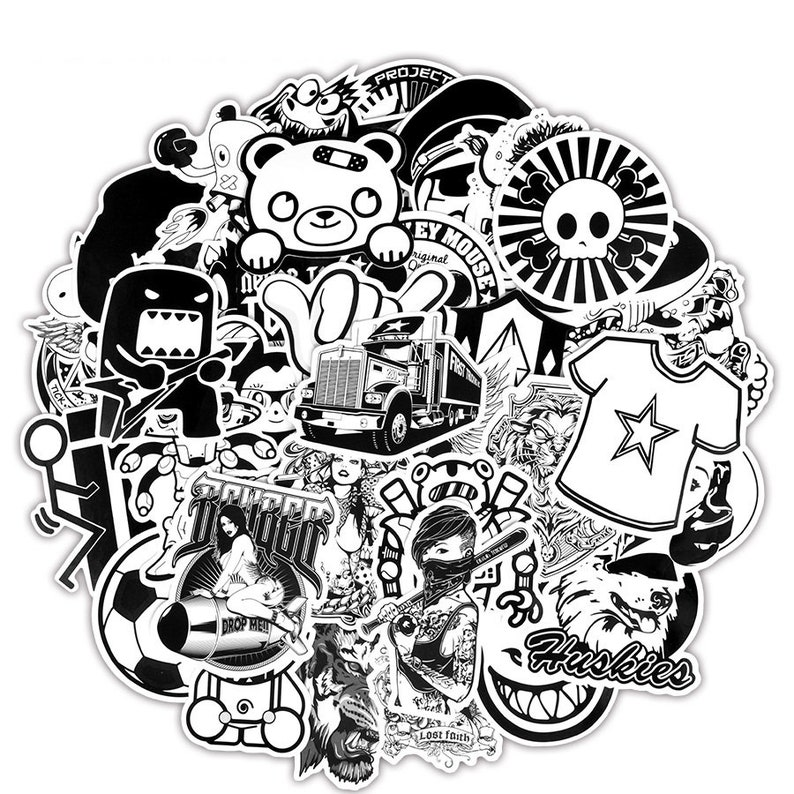 Sticker Pack Planner Stickers Custom Stickers Black-White Mixed Stickers 150pcs Laptop Stickers Vinyl Stickers Stickers