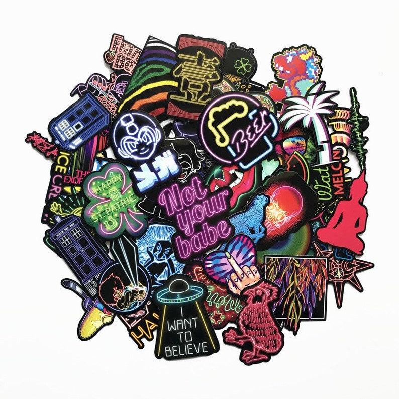Sticker Pack Laptop Stickers Custom Stickers Vinyl Stickers Cool Neon Stickers Neon Style Stickers 75pcs Planner Stickers