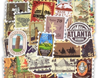 50pcs - Retro Traveling Stickers - Planner Stickers - Laptop Stickers - Vinyl Stickers - Sticker Pack - Custom Stickers - Travelers Stickers