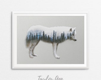 Wolf Print, Double Exposure, Wolf Poster, Double Exposure Print, Wolf Art Print, Wolf Printable, Wolf Wall Decor, Wolf Art, Arctic Wolf