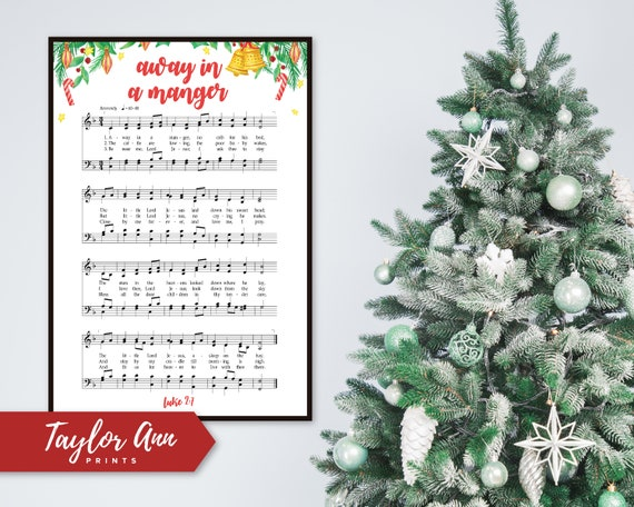 Christmas Music Downloadable.Away In A Manger Christmas Sheet Music Printable Poster Instant Downloadable Home Decor Welcome Print Dinning Room Decor Large Print