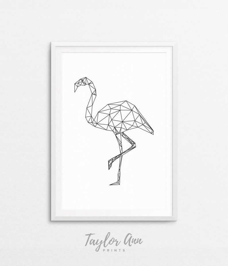 Geometrique Flamant Flamant Rose Animal Print Geometrique Etsy