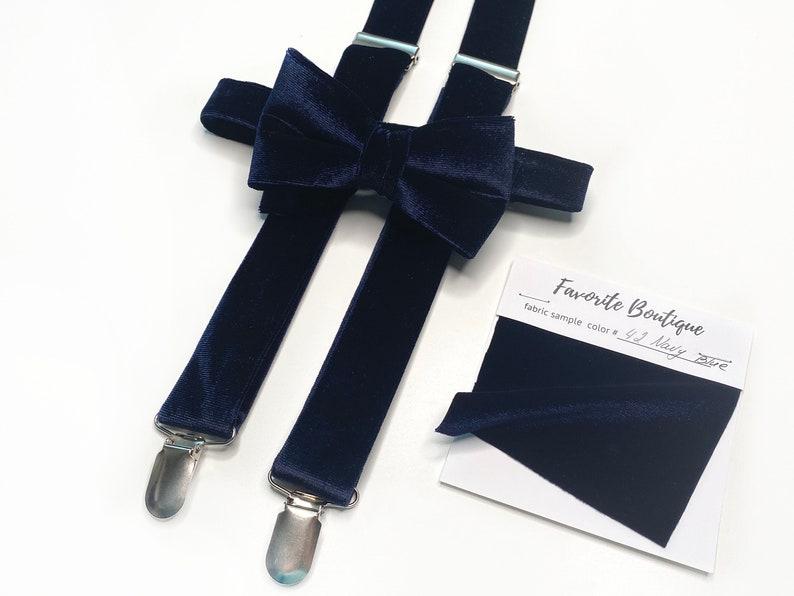 NAVY BLUE Velvet Suspenders Necktie Face Mask Pocket Square Bow Tie Velvet NAVY Velvet Groomsmens Necktie Pocket Square Velvet Suspenders