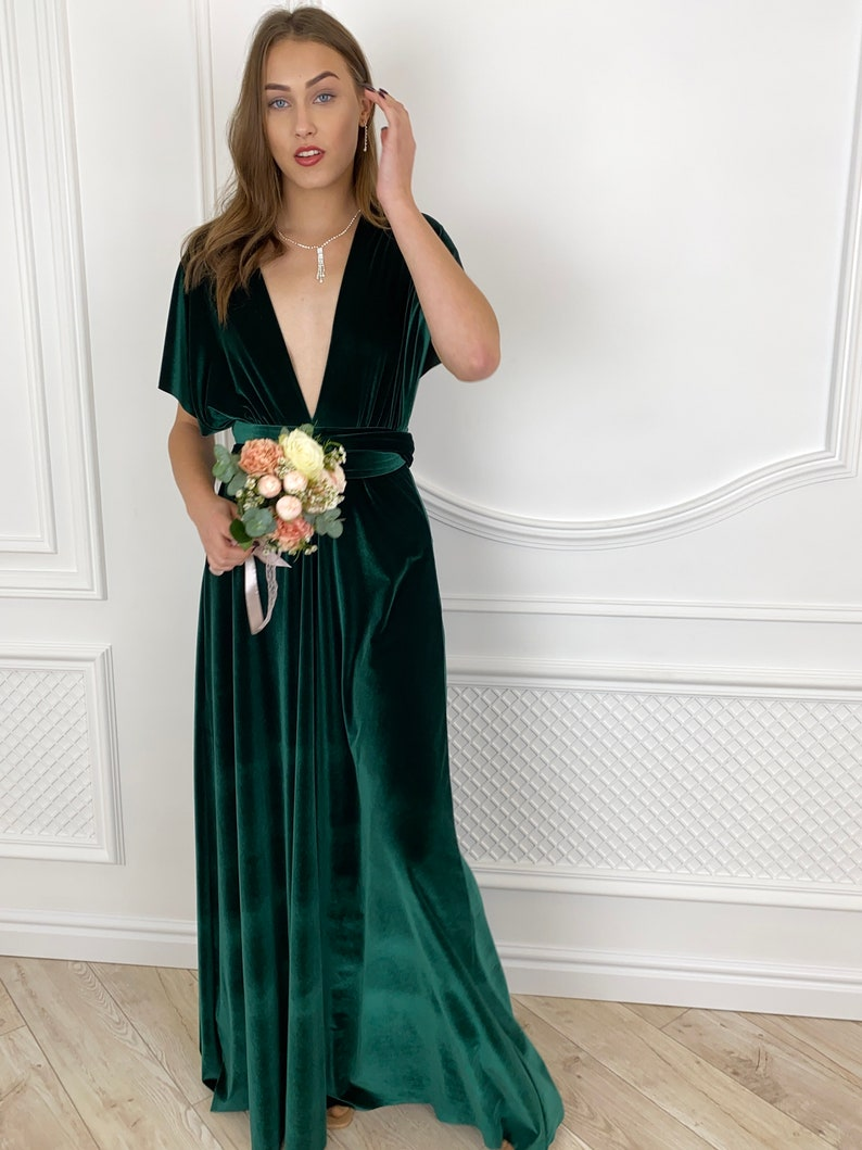 FOREST GREEN Velvet Infinity Dress Bridesmaid dress Prom dress image 2