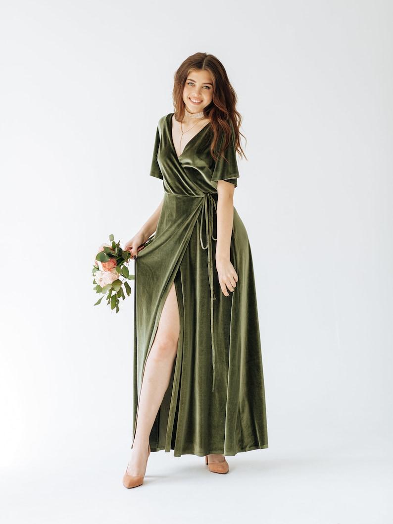 DUSTY SAGE Velvet Bridesmaid Dress SAGE Green Velvet Dress image 1