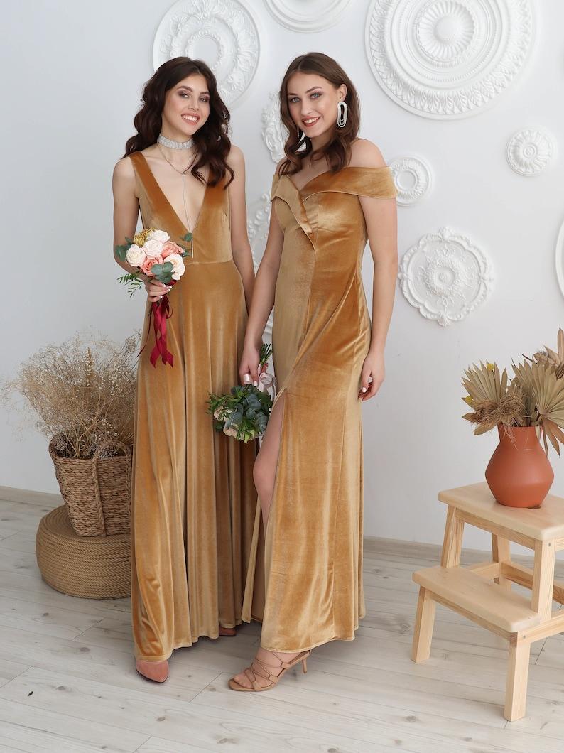 Velvet Bridesmaid Dress Mother of the Bride Velvet Prom image 2