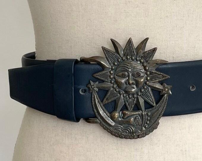Vera Neumann Belt Sun Moon Metal Buckle Vintage 70s 80s Designer Wide Navy Blue Leather Strap Made in Taiwan