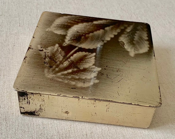 Rare Ikora Cigarette Box Case Trinket Antique Vintage 30s Art Deco Metal Tin Boxes Floral Leaf Hinged Lid Mid