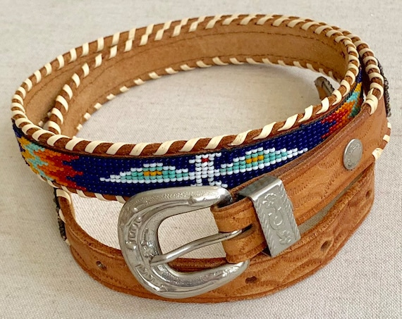 Old Beaded Thunderbird Belt Tooled Leather Strap Southwest Seed Bead Beadwork Eagle Arrows Red White Turquoise Blue Solid Brass Buckle