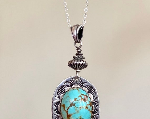 """Navajo Turquoise Pendant Necklace Vintage Native American Hand Stamped Sterling Silver Oval Robins Egg Blue Stone Long 24"""" Chain"""
