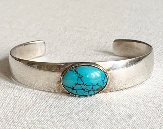 Simple Turquoise Bracelet Cuff Artist Signed M and MJ Vintage Native American Navajo Modernist Contemporary Minimalist Design