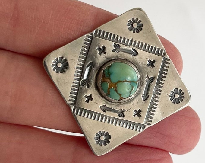 Fred Harvey Era Pin Brooch Sterling Silver Turquoise Stamped Arrows Vintage Native American Navajo Old Pawn Trading Post Jewelry