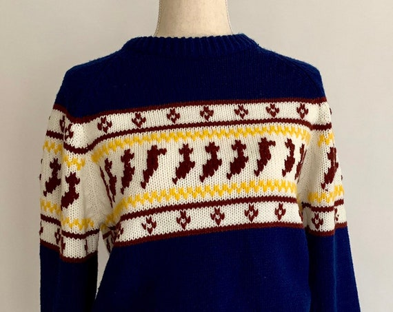 70s Fair Isle Sweater Vintage Lazarus Department Store Knitwear Navy Blue Burgundy Ochre Yellow Crew Neck