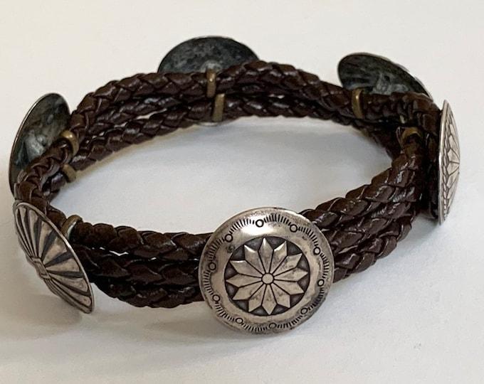 Native American Concho Bracelet Bangle Sterling Silver Vintage Dark Brown Braided Leather Strap